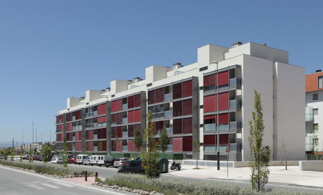 Vista exterior 1. 55 VPO Sarriguren. Apezteguia Architects